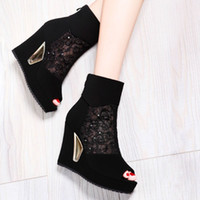 ladies leather boots - Lady Wedge Boots Suede Leather Boots Classics Boots Platform Boots Women Shoes Wedge Shoes Female Boots Ladies Boots Fashions Boots