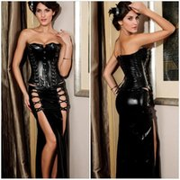 Women gothic design corset - 2015 New Fashion Gothic Women Bustier Corset Wedding Dress Bustier Tops Black Rivets Design PU Leather Body Shapers