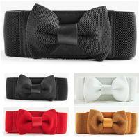 elastic stretch belt - Ideal New Arrivals New Fashion Women Sweet Bow Stretch Elastic Belt Buckle Bowknot Wide Waistband fx307