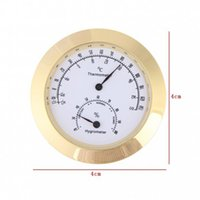 Wholesale Muse New Alloy Golden Round Humidity Moisture Thermometer Hygrometer Case For Guitar Violin Mini Portable thermometer