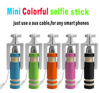 Wholesale factory mini cable selfie stick monopod camera and new model for take pictures for iphone samsung android system mobile with colors