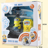 Wholesale 2 Style despicable me remote control aircraft flying toys Children s gifts Induction Aircraft christmas gift A488L