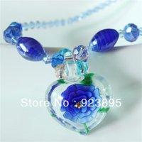 murano pendant - LLN019 heavy handmade light blue crystal beads murano glass flower pendant necklace for girls