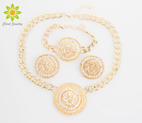 Wholesale Fashion Vintage Lion Head Necklace Bracelets Earrings For Women Gold Plated Rhinestone Jewelry Sets