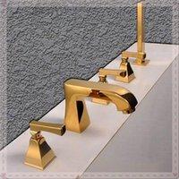 Wholesale New Arrival Luxurious Golden Star Hotel Customized Five Piece Roman Tub Faucet Mixer Tap lamp