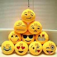 Wholesale Key Chains cm Emoji Smiley Small pendant Emotion Yellow QQ Expression Stuffed Plush doll toy for Mobile bag pendan jy040