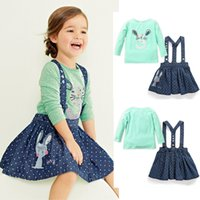 baby dresses uk - 2015 New Baby Kids Baby Girls Rabbit Tops T shirt Denim Strap Skirts Suit Party Dress UK