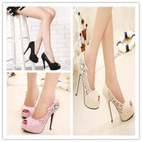 Wholesale 2015 New Arrival Lace Crystal Peep toe Summer High Heel Bridal Shoes White Lace Wedding Shoes pink Champagne Black Prom High Heel Shoes