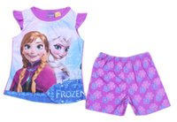 Cheap 2014 Frozen Elsa Anna Girls 3Y-10Y summer pajamas baby girl cartoon pyjamas set pjs sleepwear casual homewear short sleeved suits