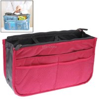 Wholesale Thicken Portable Multi function Double Zipper Cosmetic Bag Storage Bag in Bag Magenta