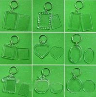 Wholesale Free DHL Fedex Blank Transparent Clear Acrylic Insert Photo Picture Frame Key Ring Chain Keychain Rectangle Round Heart