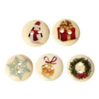 Wholesale 2015 New Year Mixed Wooden Christmas Gift Buttons Holes Fit Sewing Scrapbooking mm M63380