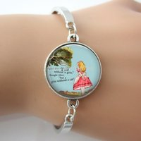alice chains metal - New fashion Glass cabochon dome Alice picture Quote bracelet silver gold bronze color plated metal bracelet for women G002