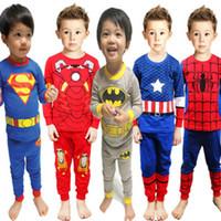 Cheap Free DHL 7 Styles Baby Avengers pajamas cartoon super hero printing shirts + pants 2 pcs set pajamas superman batman spiderman pyjamas C001
