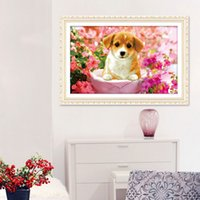 Wholesale D printing precise stitch New Living Room Series cute puppy Cross Stitch substantial new decal