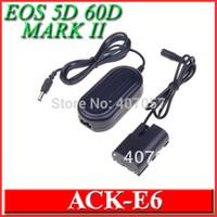 Cheap car AC Power Adapter ACK-E6 ACKE6 DC Coupler DR-E6 for Camera Canon EOS 5D 60D 70D MARK II III Adaptador, 5 pcs lot