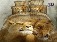 Leão 3D cama amor animal print Consolador definir queen size colcha capa de edredão em um quarto lençol de linho colcha de algodão folha de saco