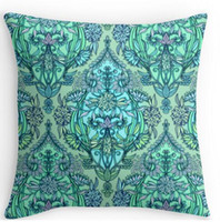 aqua pillows - Two sides printing Botanical Moroccan Doodle Pattern in Mint Green Lilac Aqua Pillow Cases for