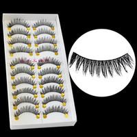 Wholesale Hot Sales Pairs as a set Natural Long Black False Lashes Handmade Thick Makeup Fake Eyelashes T225