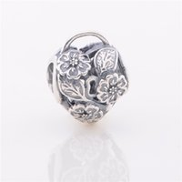 animal gift baskets - LW402 Christmas gift Sterling Silver Screw Thread FLower Baskets Charms Vintage Beads Fit for European Pandora Snake Chain