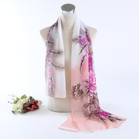 Wholesale colors Autumn winter New Women Peony Print sillk chiffon scarves cm shawls for women