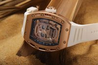 big paper rose - Luxury Big RM052 Rose Gold Stainless Skull Dial Rubber Men Automatic Movement Skeleton Watch Antique Mens Mechanical Wristwatches Box Papers