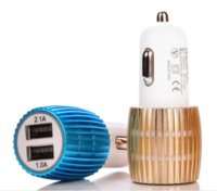 Wholesale Blu ray Gangbao Dual USB Miro Car Charger Blue Light Adapter Universal Power Adaptor for iPhone S S iPad Moblie Phone Tablet PC
