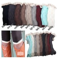 Wholesale Leg Warmers Boot Cuffs Socks Women Winter Short Stocking Gaiter Fashion Lace Striped Acrylic Knitted Hollow Out Solid Color Colors