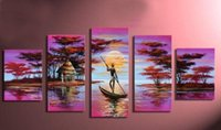 africa lakes - 100 Hand painted Pink Africa lake boat Abstract landscape Wall home Decor Oil Painting on canvas set mixorde Frameless dra