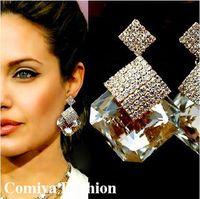 benefit makeup wholesale - Angelina jolie austrian crystal earring water drop earrings for women brincos grandes benefit makeup fashion earing gotic