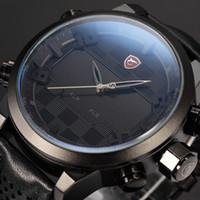 alarm clock movement - Shark Analog Digital Dual Movement Display Alarm Male Clock Stainless Steel Case Leather Strap Digital LED Sport Watch SH206