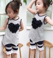 clothing - Girls Clothes Korean Children Clothing Summer Kids Bow Sleeveless T shits Vest Tank Tops Girl Set Lace Short Pants Shorts Gray I2997