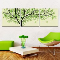 Cheap 3 Pieces Free Shipping Modern Wall Oil Painting Living Room Decor Green Money Tree Wall Art Picture Paint On Canvas Prints