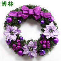 Wholesale 60CM Pink Red Purple Decorations For Trees Christmas Wreath Door Hanging Trim Hotel Handmade For New Year Decoration Supplies ZC