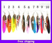 Wholesale New Womens Feather Pierced Earrings Feather Dangle Bead Earrings