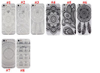 plastic flower - Clear Matte Hard Plastic PC Case back Cover for Iphone Plus S C S Henna White Floral Paisley Flower Mandala case