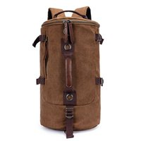 Wholesale Men s Casual Canvas Backpack Thick Cylindrical high capacity Travel Shoulder bag Schoolbag Computer Bag
