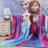 Wholesale New kid cartoon barbie elsa and anna girl princess warm large blanket CM p l
