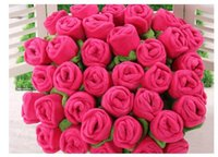 Wholesale 20pcs New knock back stick plush roses birthday gift cartoon flower bouquet curtains press trinkets