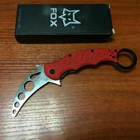 Cheap 2015 Fox Claw Red Karambit Training Folding blade knife Outdoor gear EDC Pocket hunting knife camping knife knives
