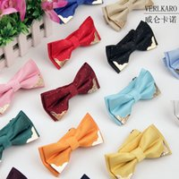 red bow tie - Self Tie Bow Ties for Men High grade Mens Bow Ties Metal Trim Black White Orange Purple Red Violet Blue Gray Silver Champagne