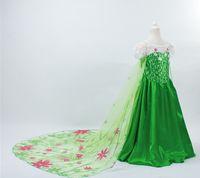 Cheap 2015 new frozen fever Elsa green long cape princess dress girl cosplay printing dresses costume flower beading gauze cloak