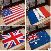 Wholesale 300pcs LJJC3433 cm High Quality Australia USA UK Germany Canada Flag Doormat Vintage Bedroom Carpet France Flag Mats Cartoon Door Rug