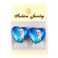 anna heart - Party earrings Frozen Earring clip Kid Jewelry New Frozen Elsa Anna Heart shaped Glass Earrings Ear Clip Earring cm gifts pairs