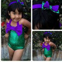 Wholesale Kids Swimwear Girls Swimsuit Child Sets Beachwear Kids Bathing Suits New Childrens Swim Suits Children Swimwear Kids Hair Bows BH1743