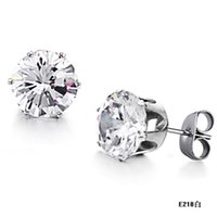 big number change - Korean jewelry shiny new big diamond earrings Ms titanium steel does not change color GE218 white
