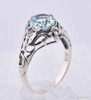 aquamarine stone - Elegant sterling silver jewelry Austria aquamarine ring hollow out topaz stone ring fashion design decorative pattern
