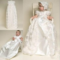 Wholesale Real Image Lace Imitated Silk Two Piece Christening Gowns A Line Short Sleeves Ivory Babies Baptism First Communion Dresses with Free Hat
