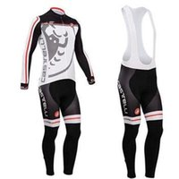 Wholesale castelli men cycling Jersey sets in winter autumn fall with long sleeve bike top bib pants in cycling clothing bicycle wear