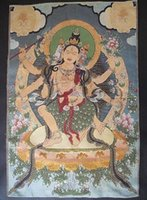 Wholesale Tibet Tibetan Silk Inwrought meditation thangka tibetan Buddha H012